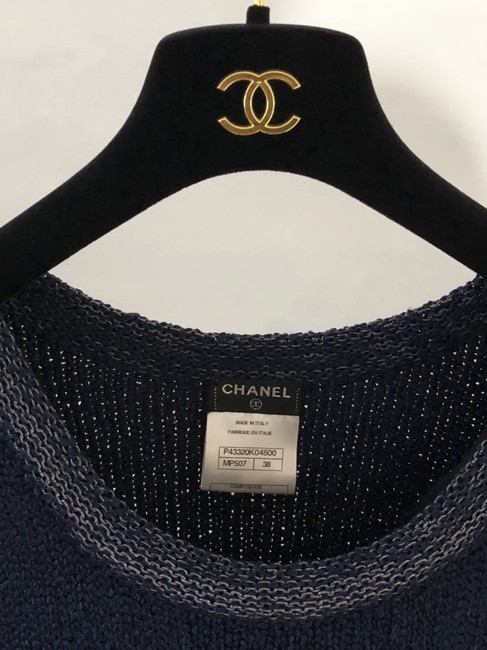 Chanel short dress Navy Blue/White Crochet Knit Fitted A-line Skater on Tradesy Image 3