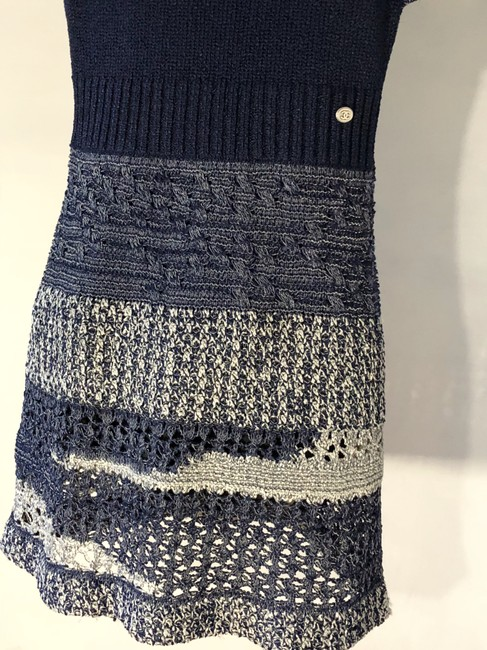 Chanel short dress Navy Blue/White Crochet Knit Fitted A-line Skater on Tradesy Image 4