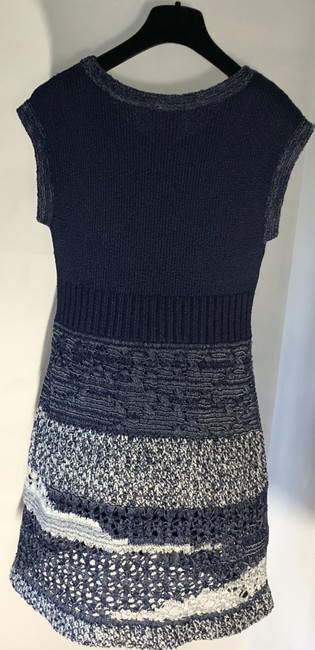 Chanel short dress Navy Blue/White Crochet Knit Fitted A-line Skater on Tradesy Image 7