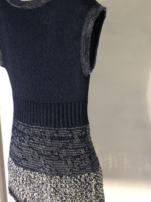 Chanel short dress Navy Blue/White Crochet Knit Fitted A-line Skater on Tradesy Image 8