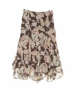 Soft Surroundings Fairy Hem Metallic New Without Tags Paisley Maxi Skirt Brown, Gold, Pink
