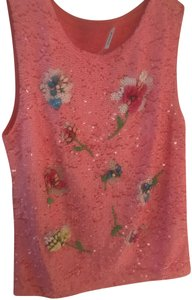 P.A.R.O.S.H. Beaded Sparkle Bohemian Embellished Top Pink Sequin