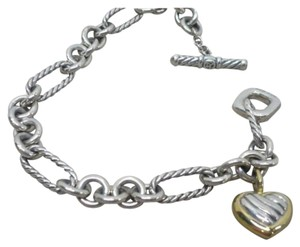 David Yurman Sterling 18k Gold Cable Links Toggle Clasp Chain Bracelet with Two Tone HEART
