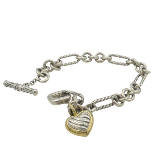 David Yurman Sterling 18k Gold Cable Links Toggle Clasp Chain Bracelet with Two Tone HEART Image 1