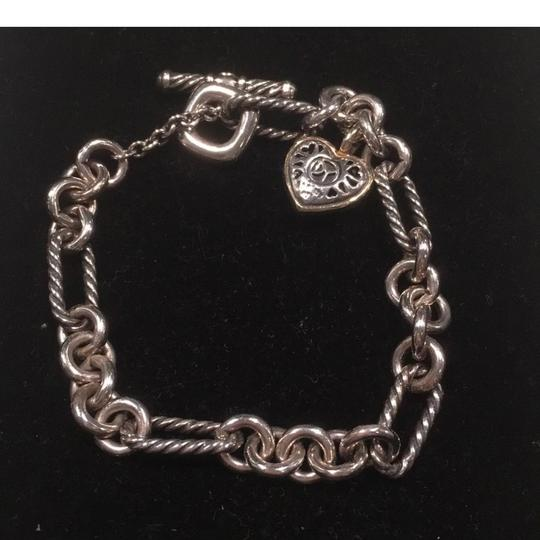 David Yurman Sterling 18k Gold Cable Links Toggle Clasp Chain Bracelet with Two Tone HEART Image 2