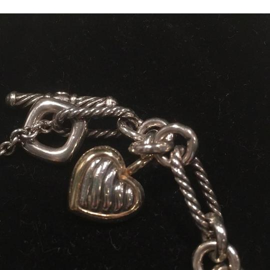 David Yurman Sterling 18k Gold Cable Links Toggle Clasp Chain Bracelet with Two Tone HEART Image 3