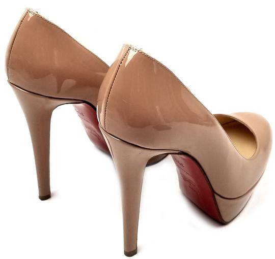 Christian Louboutin 120mm Stiletto Heel Round Toe Strong Platform Made In Italy Leather Nude Patent Pumps Image 3