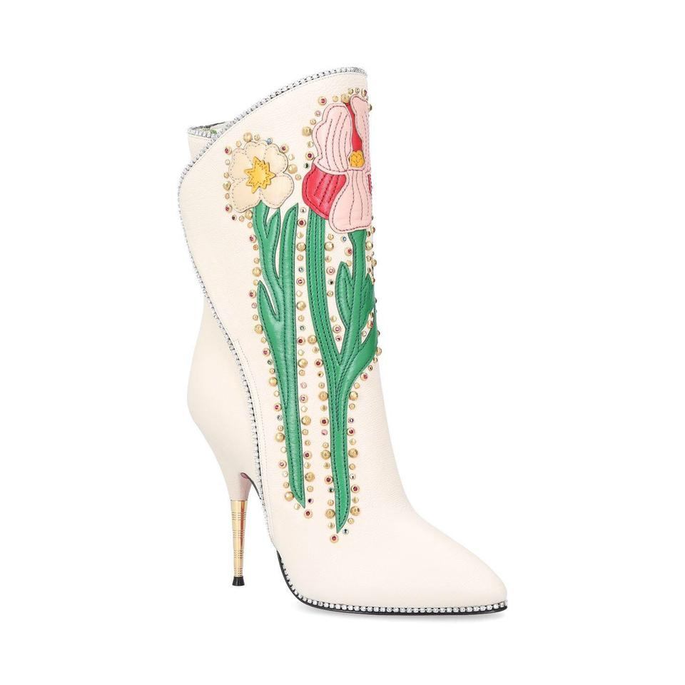 01be76045ab Gucci Flowers Intarsia Leather Boots Booties Size EU 36.5 (Approx ...