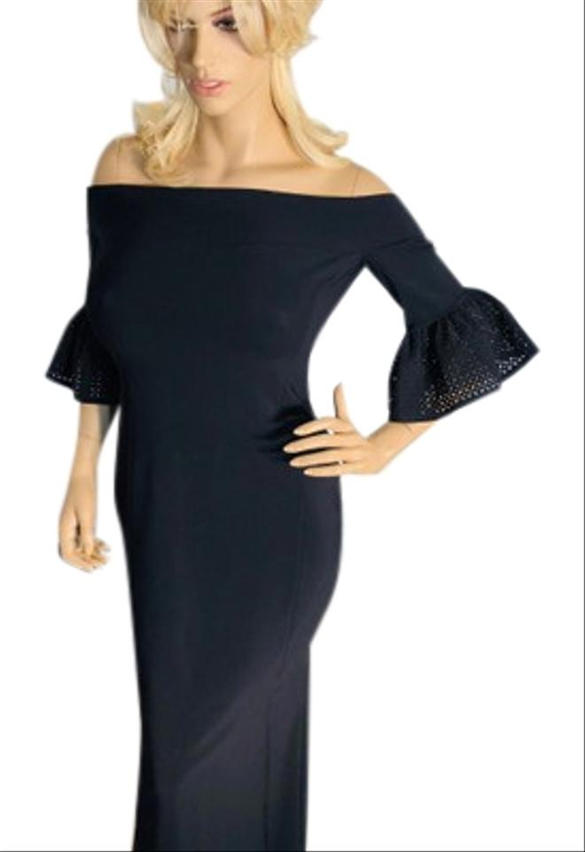 La Petite Robe di Chiara Boni Black Off Shoulder Long Formal Dress ... 625b25fa4