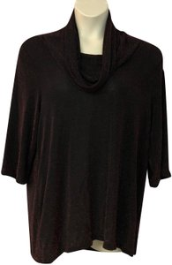 UNBRANDED Knit Plus-size Top BLACK/RED