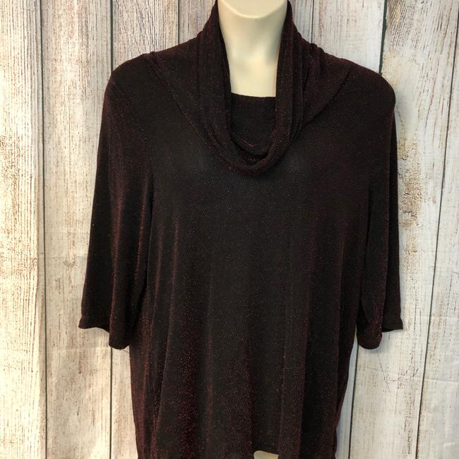 UNBRANDED Knit Plus-size Top BLACK/RED Image 3