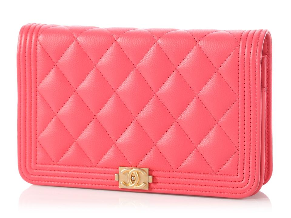 42ee82f98a2371 Chanel Wallet on Chain Boy Woc Quilted Soft Caviar Coral Pink Leather Cross  Body Bag