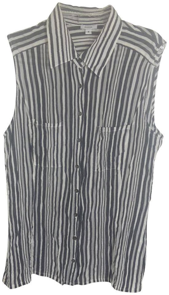 4cd4165a0bbae4 Gray Sleeveless Striped Shirt Button-down Top Size 8 (M) - Tradesy