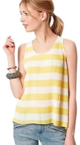 Anthropologie Back Yoke Breezy Airy Pleats Super Cheerful Bra Strap Loops Easy Care Top Yellow White