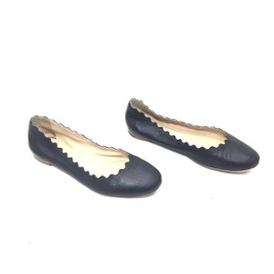 Chloé Ballet Scalloped Leather Round Toe Navy Flats