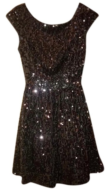Item - Black Capsleeve Sequin Short Cocktail Dress Size OS (one size)