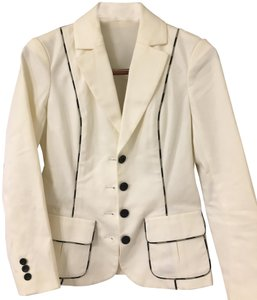 Diane von Furstenberg Ecru with Black and Beige Trim Blazer