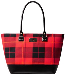 Kate Spade Wellesley Plaid Red/Black Leather/Plaid Shoulder Large Harmony Tote in Black/Red