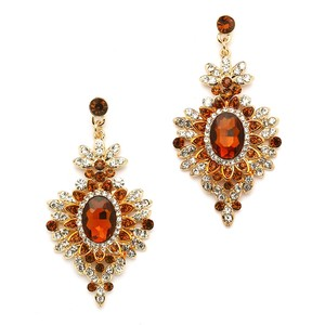 Mariell Retro Glam Smoked Topaz & Gold Drop Earrings 4131e-st-g