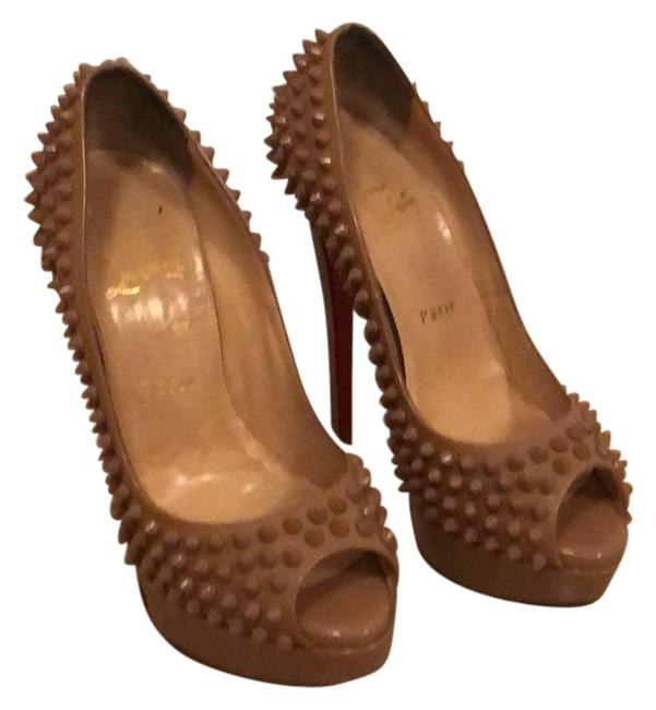 Item - Nude Lady Peep Spikes Pumps Size EU 37.5 (Approx. US 7.5) Wide (C, D)