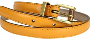 Gucci Women's Leather Bamboo Skinny Buckle Belt 339065 Size 38