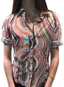 Paul Smith Black Label Cotton & Silk Short Sleeve Top multi-colored swirl pattern