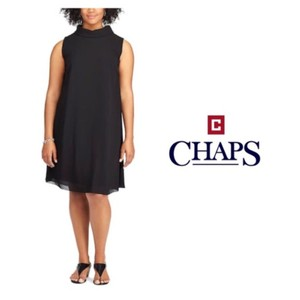 Chaps Overlay Split Georgette Evening Dress