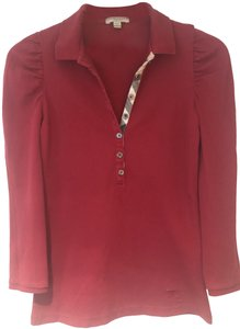 Burberry Polo 3/4 Sleeve Cotton Top Red
