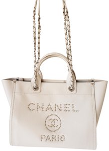 a24c685cbd9b Chanel Deauvile Shopping Caviar Leather Tote in Beige · Chanel. Deauville  18k Silver Studded ...