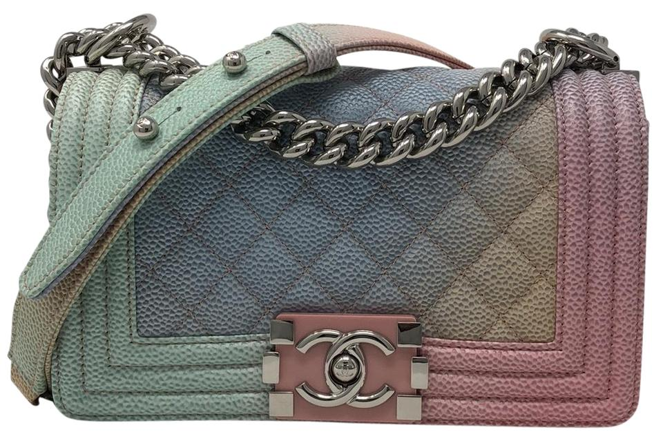 9b9570cc4b9c Chanel Boy Le Rainbow 18p Pastel Pink Caviar Cross Body Bag - Tradesy