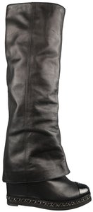 Chanel Knee High Folded Chain Over The Knee Thigh High black Boots