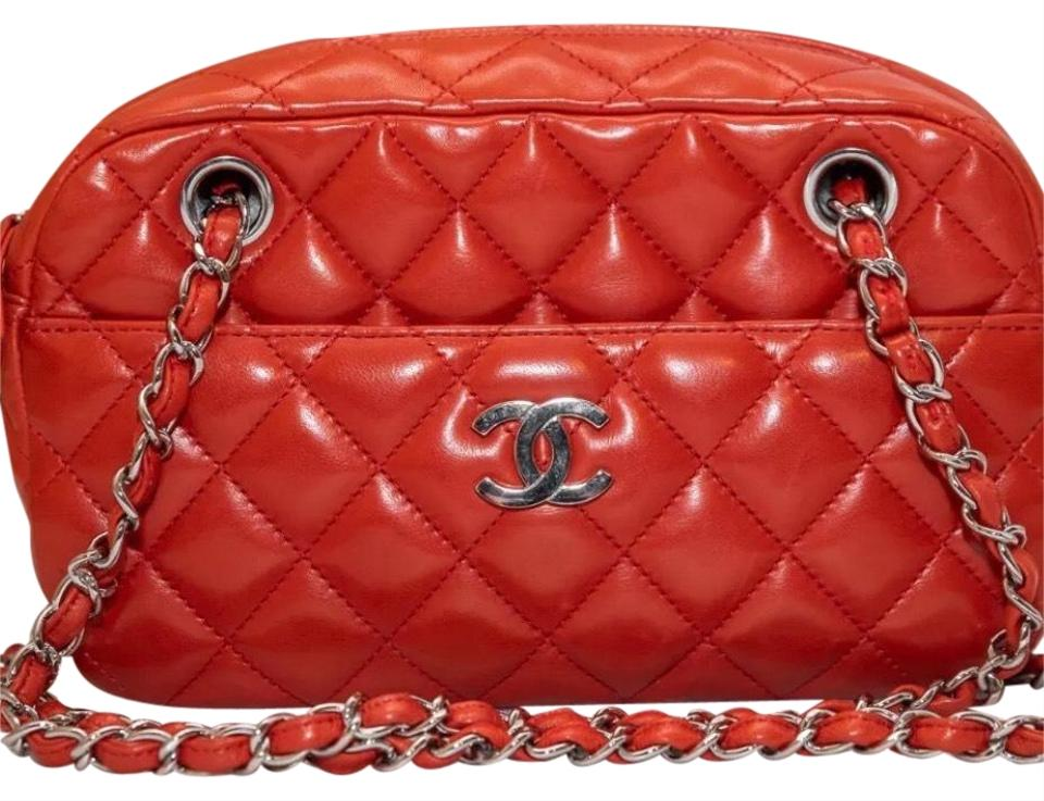 53521bea3c23 Chanel Camera With Silver Hardware Red Lambskin Leather Cross Body ...