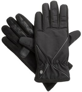 Isotoner Black Gray Accent Woven Fleece smarTouch THERMAflex Sport Gloves M L