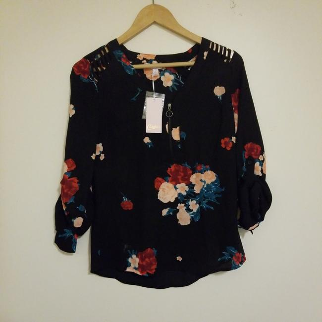 Candie's Top Black with red pink and a nice dark green Image 1