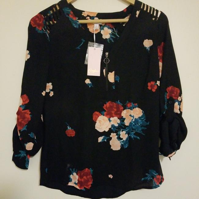Candie's Top Black with red pink and a nice dark green Image 2