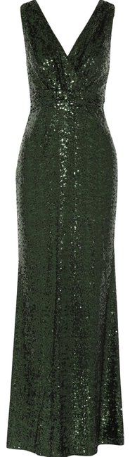 Item - Green Emerald Sequin V-neck Gown Long Formal Dress Size 2 (XS)