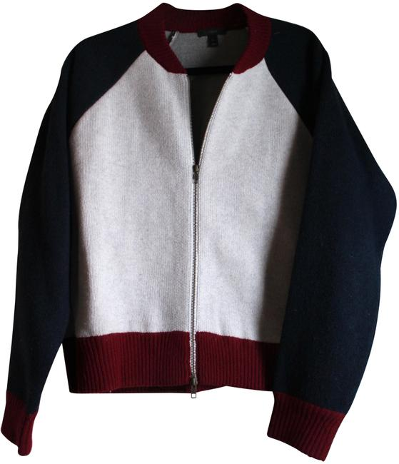 Item - Grey Burgundy and Navy Wool Baseball Jacket Size 12 (L)