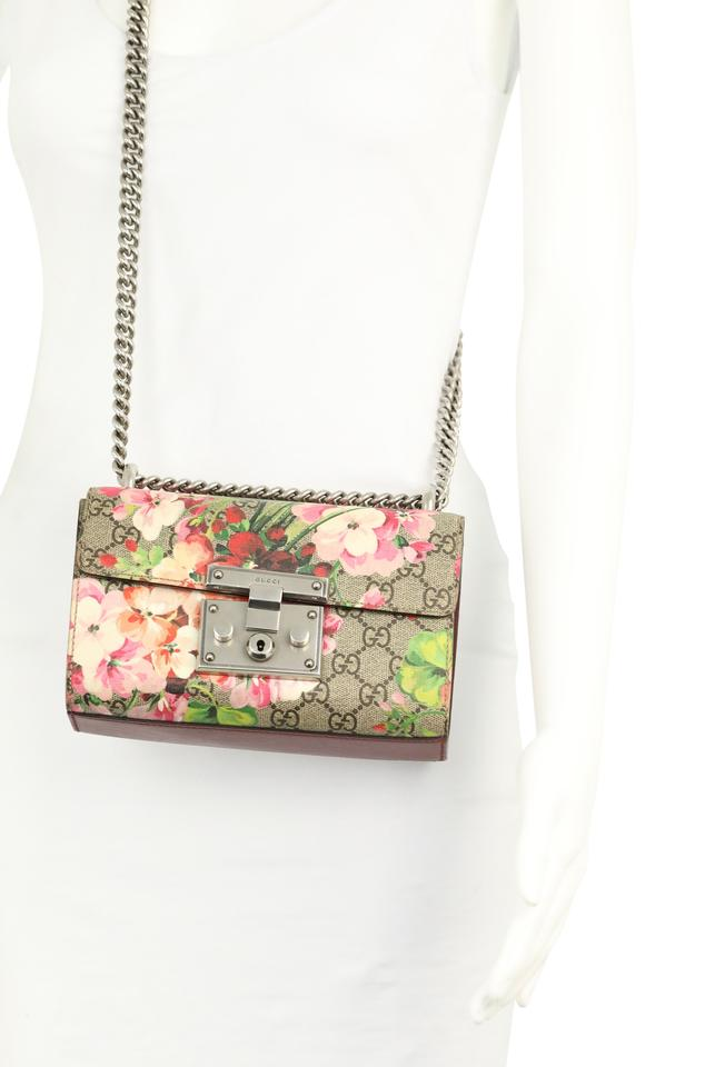 48f83e3132b1 Gucci Padlock Small Gg Blooms Multicolor Coated Canvas Shoulder Bag ...