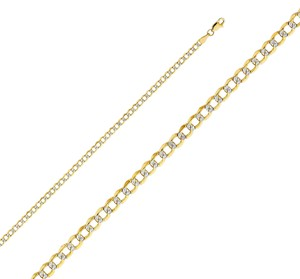 Top Gold & Diamond Jewelry 14k Yellow Gold 3.5 mm Hollow Cuban Bevel WP Chain - 20