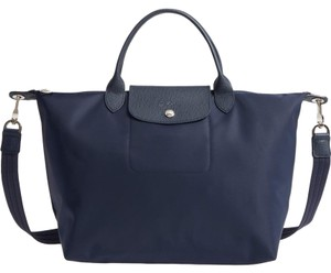 Longchamp Pliage Crossbody Top Handle Tote In Navy Blue