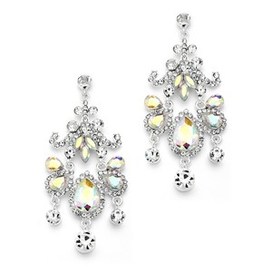 Mariell Silver Crystal Chandelier Statement with Ab Gems 4149e-ab Earrings
