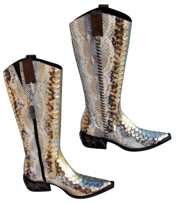 Donald J. Pliner Gold Metallic Multi Hand Painted Python Western Couture Leather Gail Boots/Booties Size US 6 Regular (M, B) Donald J. Pliner Gold Metallic Multi Hand Painted Python Western Couture Leather Gail Boots/Booties Size US 6 Regular (M, B) Image 1