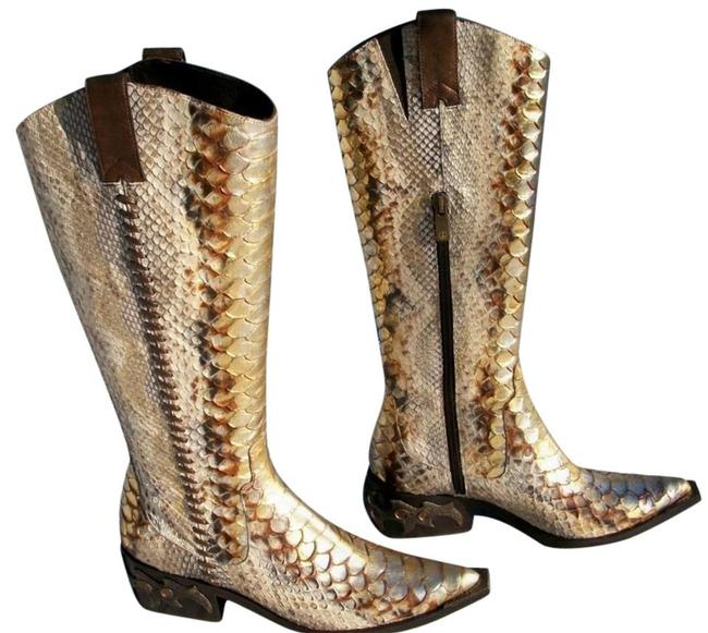 Donald J. Pliner Gold Metallic Multi Hand Painted Python Western Couture Leather Gail Boots/Booties Size US 6 Regular (M, B) Donald J. Pliner Gold Metallic Multi Hand Painted Python Western Couture Leather Gail Boots/Booties Size US 6 Regular (M, B) Image 2