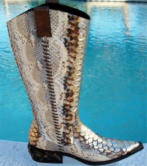 Donald J. Pliner Gold Metallic Multi Hand Painted Python Western Couture Leather Gail Boots/Booties Size US 6 Regular (M, B) Donald J. Pliner Gold Metallic Multi Hand Painted Python Western Couture Leather Gail Boots/Booties Size US 6 Regular (M, B) Image 3
