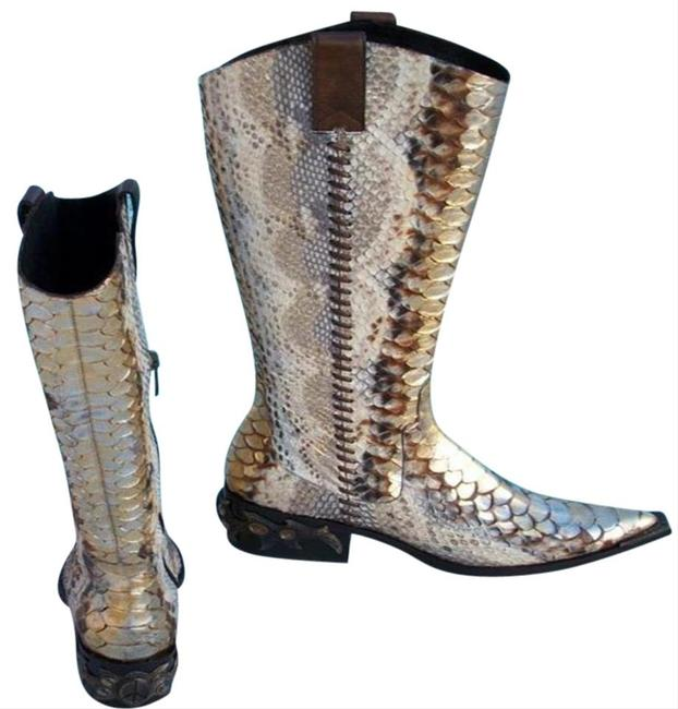 Donald J. Pliner Gold Metallic Multi Hand Painted Python Western Couture Leather Gail Boots/Booties Size US 6 Regular (M, B) Donald J. Pliner Gold Metallic Multi Hand Painted Python Western Couture Leather Gail Boots/Booties Size US 6 Regular (M, B) Image 4