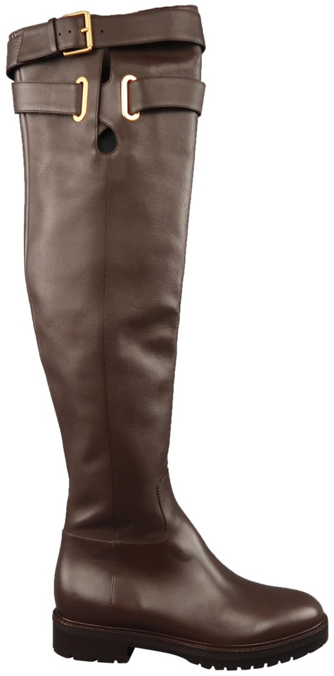 7e82214de30 Valentino Brown Leather Over The Knee Bowrap Riding Boots Booties ...