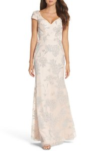 Hayley Paige Blush Pink Tulle Beaded Glitter Floral Feminine Bridesmaid/Mob Dress Size 8 (M)