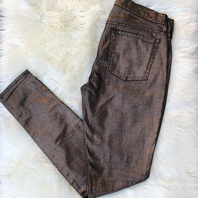 7 For All Mankind Metallic Skinny Jeans-Coated Image 1