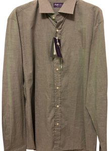 Polo Ralph Lauren Purple Label Mens Keaton Dress Shirt Italy Gray Size 17.5 Top gray