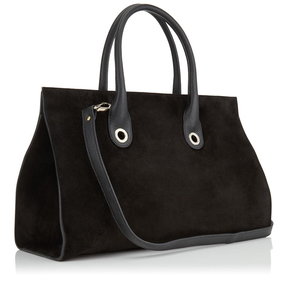 39d3fe2d9a7a Jimmy Choo Crosta Large Riley Suede Tote Ocert028 Black Leather ...